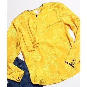 Mikado vintage yellow rose button up top Mikado vi